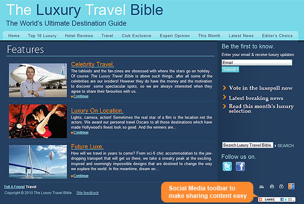 Luxury Travel Bible - Social Networking Module